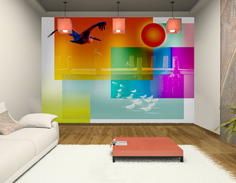 Wall story murals Wallpaper and paint ideas living room
